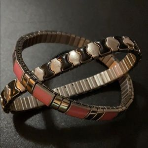 Black and Pink Stainless Steel Stretch Bracelets